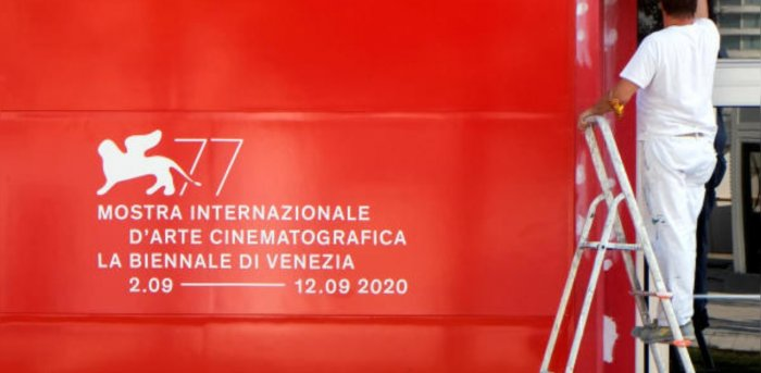 A worker prepares for the 77th Venice Film Festival, the first major international film festival held since the coronavirus disease (Covid-19) outbreak, in Venice. Credit: Reuters photo