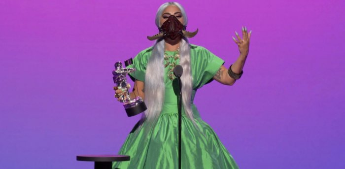 Lady Gaga accepts the award for Artist of the Year during the 2020 MTV VMAs. Credits: Reuters