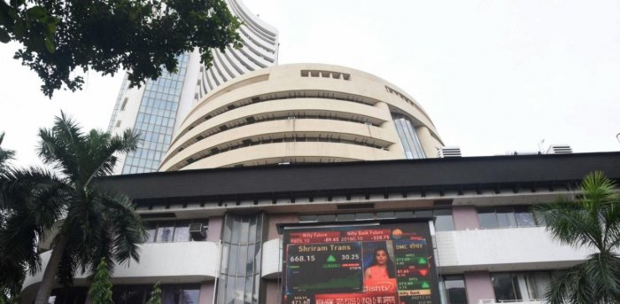 Stock prices displayed on a digital screen at the facade of the Bombay Stock Exchange (BSE) building, in Mumbai. Credits: PTI