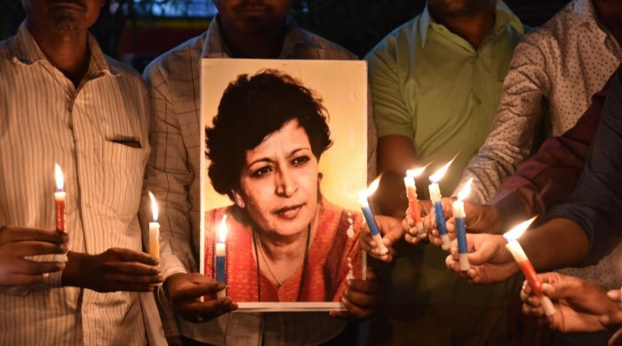 Lankesh, who was known for her strong anti-Hindutva stand, was shot dead in front of her house, triggering a nationwide outrage. DH Photo