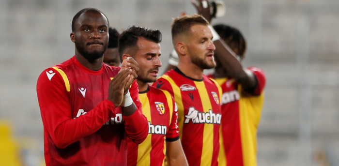RC Lens' Ignatius Ganago and teammates celebrate after the match. Credit: Reuters Photo