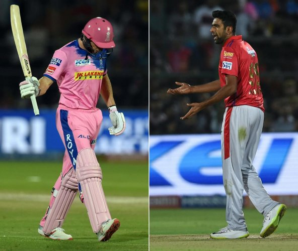 """Rajasthan Royals' Jos Buttler walks back in anger after he was """"mankaded"""" by Kings XI Punjab's R Ashwin in Jaipur on Monday. AFP"""