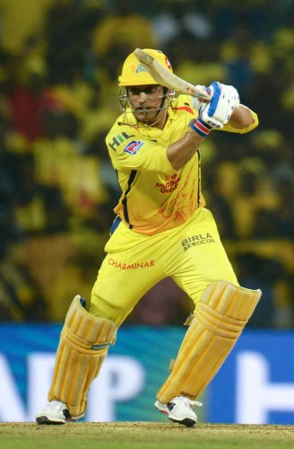 CALCULATING Chennai Super Kings captain M S Dhoni en route his unbeaten 75 against Rajasthan Royals during their IPL match in in Chennai on Sunday. AFP