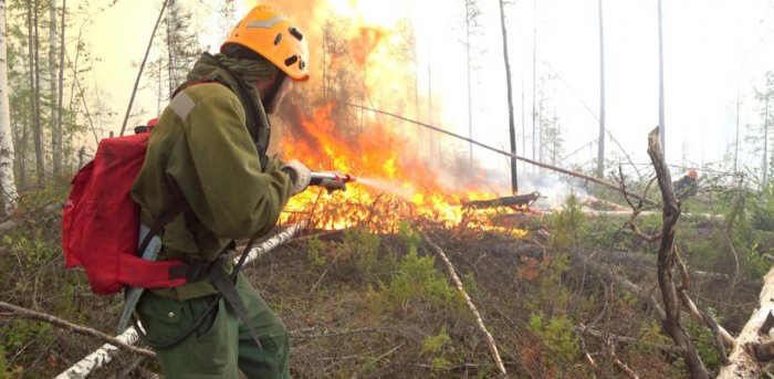 A specialist sprays water while extinguishing a forest fire in Krasnoyarsk region, Russia. Credit: Reuters
