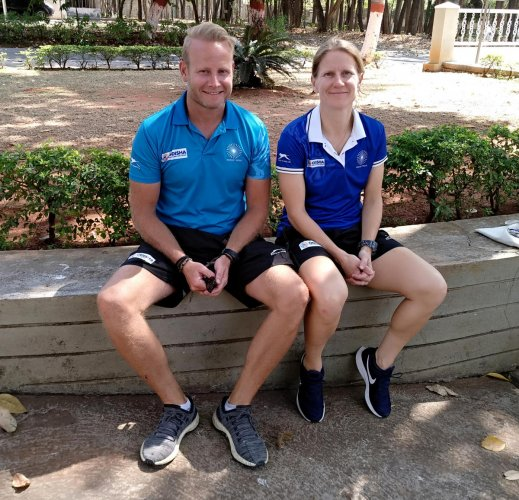 Indian women's hockey head coach Sjoerd Marijne (left) with the newly appointed analytical coach Janneke Schopman at the SAI campus in Bengaluru on Tuesday. DH PHOTO/VIVEK MV