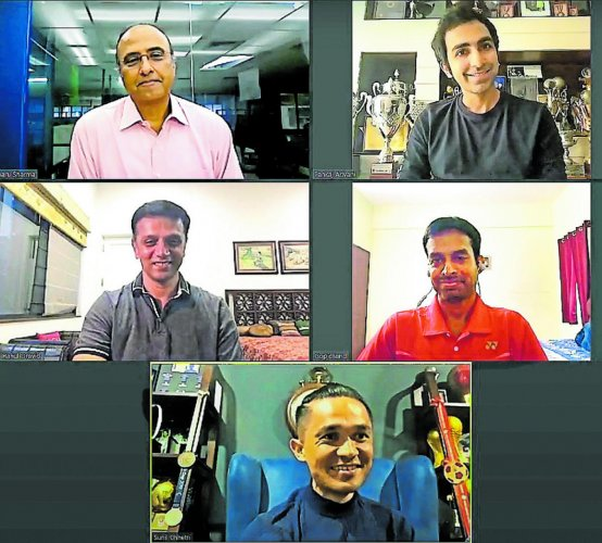 Clocwise (from top right) Cue sports ace Pankaj Advani, badminton great P Gopichand, footballing hero Sunil Chhetri and cricket legend Rahul Dravid during the Deccan Herald webinar series DH Sparks moderated by Charu Sharma.
