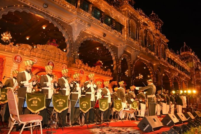 The Police Band performs on the Palace stage, as part of Dasara celebrations in Mysuru, on October 22.