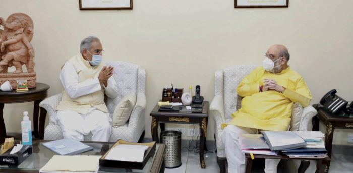 Union Home Minister Amit Shah with Chhatisgarh CM Bhupesh Baghel during a meeting, in New Delhi. Credit: PTI Photo
