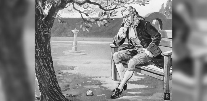 English mathematician and physicist Sir Isaac Newton (1642 - 1727) contemplates the force of gravity, as the famous story goes, on seeing an apple fall in his orchard, circa 1665. Credit: Hulton Archive/Getty Images