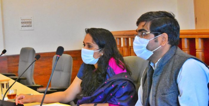 Deputy Commissioner Annies Kanmani Joy speaks at a meeting at her office on Tuesday.
