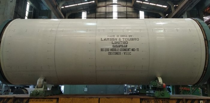 The booster segment developed for the Gangayaan mission. Credit: L&T.