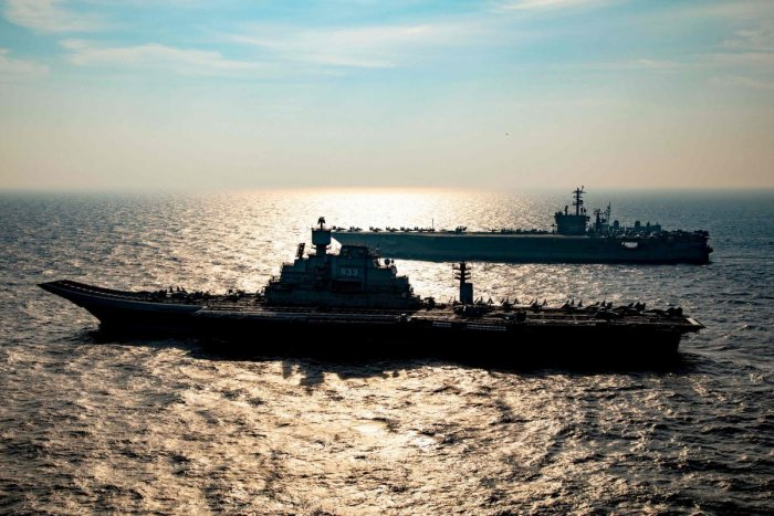 This handout photo taken and released by the Indian Navy on November 17, 2020 shows a ships taking part in the second phase of the Malabar naval exercise in the Arabian sea. Credit: AFP