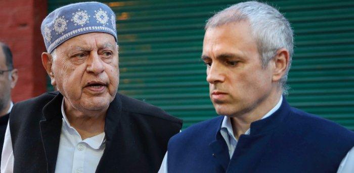 Jammu and Kashmir National Conference President Farooq Abdullah along with his son Omar Abdullah. Credit: PTI Photo