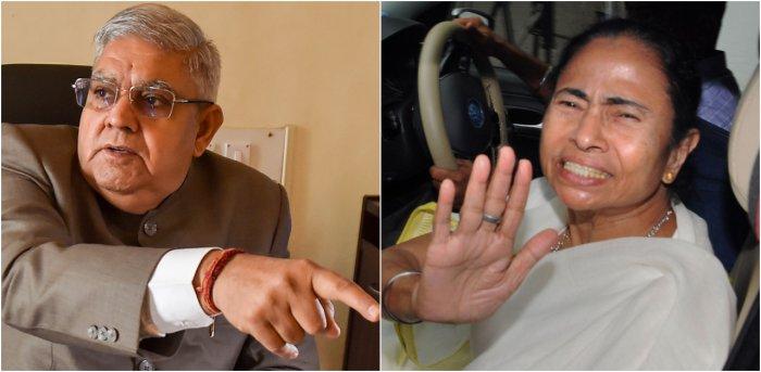 West Bengal Governor Jagdeep Dhankar (L) and Chief Minister Mamata Banerjee. Credit: PTI File Photos
