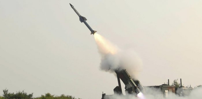 Second phase of flight test of Quick Reaction Surface to Air Missile (QRSAM) from the Integrated Test Range in Chandipur. Credit: PTI.