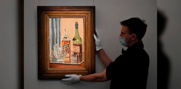 """Painted at Churchill's country house of Chartwell, the still life called """"Jug with Bottles"""" is going on sale on November 10 and is expected to sell for up to £250,000. Credit: DANIEL LEAL-OLIVAS / AFP"""