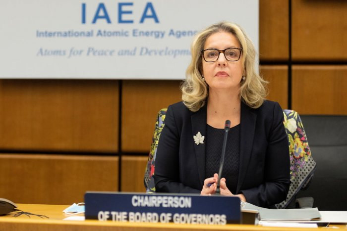 Chairperson of the International Atomic Energy Agency (IAEA) Board of Governors Heidi Alberta Hulan prepares for a virtual IAEA Board of Governors meeting at the IAEA headquarters of the UN seat in Vienna, Austria, November 18, 2020. Credit: REUTERS