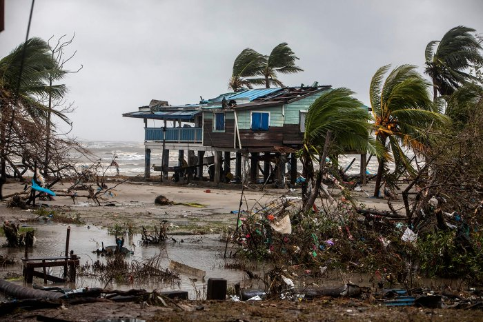 A destroyed house is pictured after the passage of Hurricane Iota in Bilwi, Nicaragua. Credit: AFP Photo