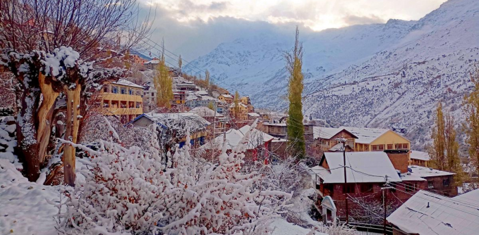 Fresh snowfall at Keylong in Lahual-Spiti district. Credit: PTI Photo