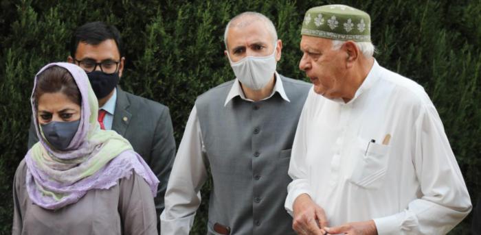Members of People's Alliance for Gupkar Declaration Farooq Abdullah, Mehbooba Mufti, Omar Abdullah. Credit: PTI Photo