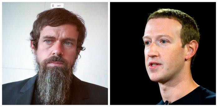 Jack Dorsey and Mark Zuckerberg. Credit: Agency Photos