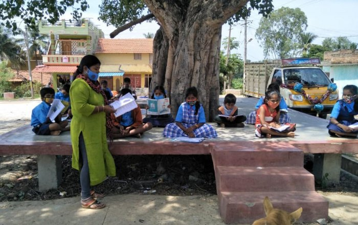A government school teacher engages a class for students during Covid-19 pandemic in Mysuru. DH file photo