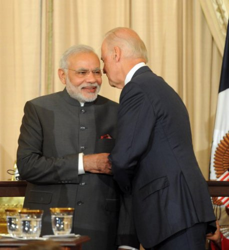 Prime Minister Narendra Modi with Joe Biden. PM Modi tweeted this picture to congratulate Biden on becoming the 46th President of the United States. Credit: Twitter/@narendramodi