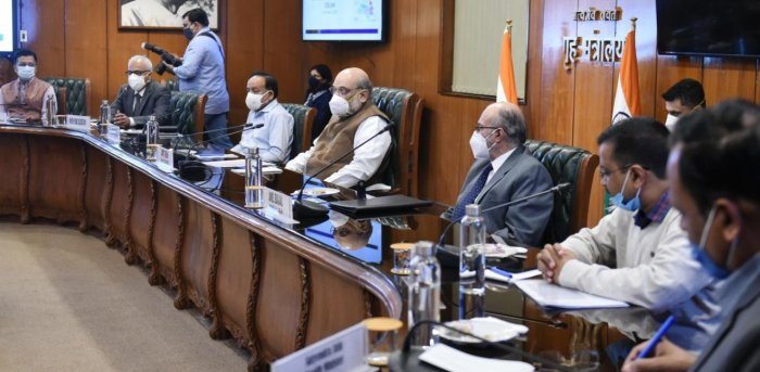 Home Minister Amit Shah chairs a meeting over the Covid-19 situation in the national capital. Credit: PTI Photo