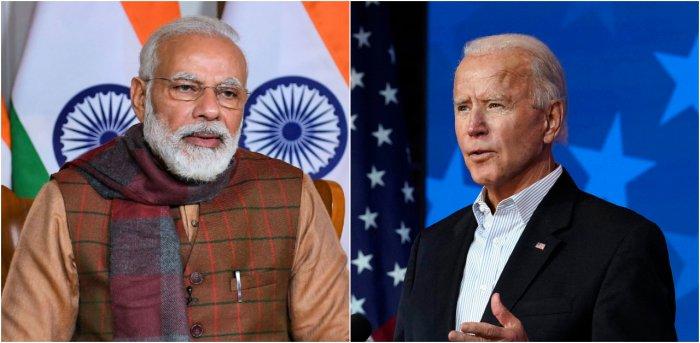 Prime Minister Narendra Modi (L) and US President-elect Joe Biden. Credit: PTI