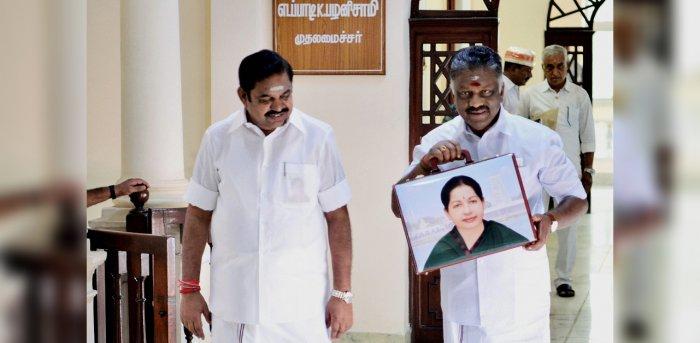 Tamil Nadu Deputy Chief Minister O Panneerselvam with Tamil Nadu Chief Minister K Palaniswami. Credit: PTI File Photo