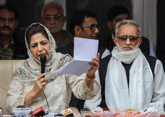 People's Democratic Party (PDP) President Mehbooba Mufti addresses a press conference in Jammu, Monday, Nov 9, 2020. Credit: PTI Photo