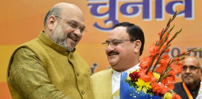 Amit Shah and J P Nadda. Credit: PTI File Photo