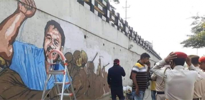 Painting of anti-CAA activist Akhil Gogoi in Guwahati. Credit: DH