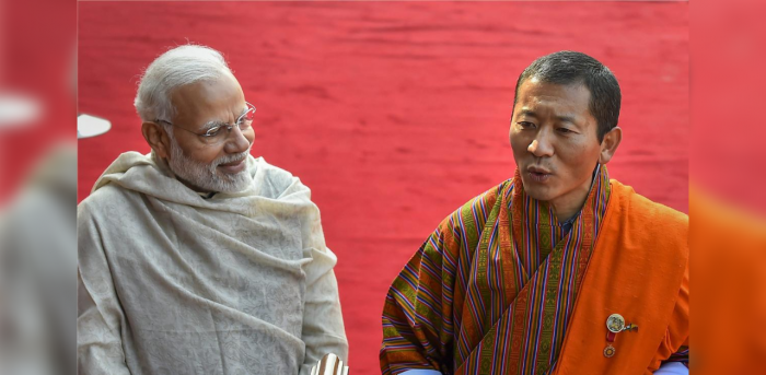 Prime Minister NarendraModiwith hisBhutanesecounterpart Lotay Tshering. Credit: PTI File Photo
