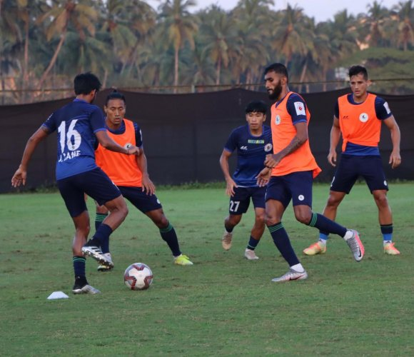 ATK Mohun Bagan players hard at training before their Indian Super League opener against Kerala Blasters on Friday. Twitter