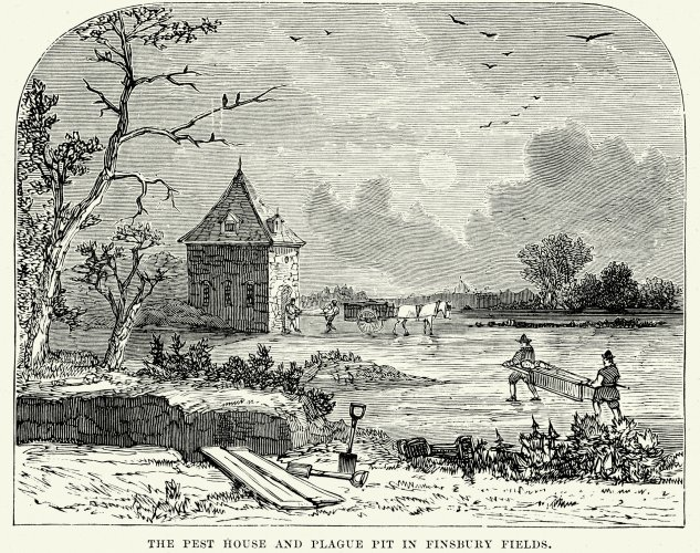 Plague Pit in Finsbury Fields stock illustration. Credit: iStock images