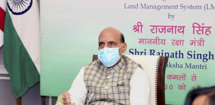 Defence Minister Rajnath Singh inaugurates the Land Management System software of the Ministry of Defence. Credit: PTI.