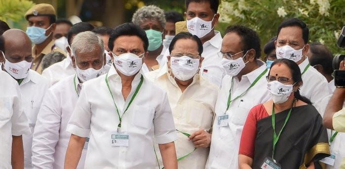 DMK President MK Stalin and his party MLAs. Credit: PTI Photo