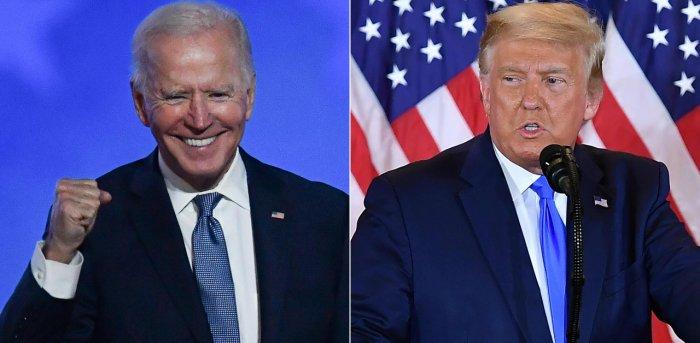 US President-elect Joe Biden (L) and US President Donald Trump. Credit: AFP Photo