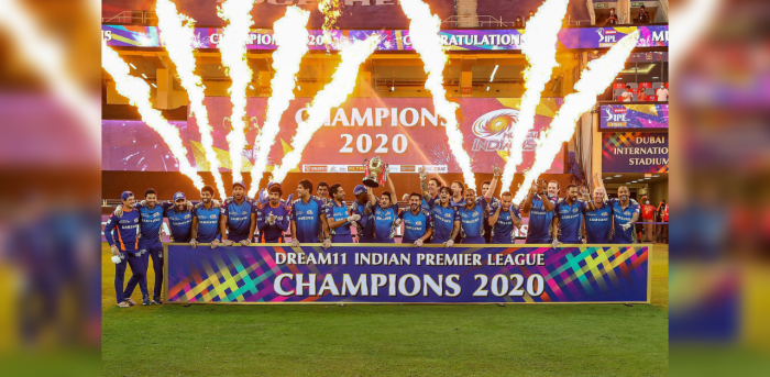 Mumbai Indians team pose with the winners trophy after winning the final cricket match of the Indian Premier League (IPL) T20 against Delhi Capitals, at Dubai International Cricket Stadium in Dubai, Tuesday, Nov. 10, 2020. Credit: PTI