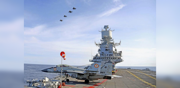 Advance air operations with MiG 29Ks from Vikramaditya of Indian Navy with navies of Australia, Japan and US in the Arabian Sea as part of phase two of Malabar Exercise 2020. Credit: PTI Photo