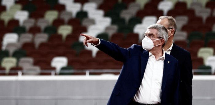 Thomas Bach, International Olympic Committee (IOC) President visits the National Stadium, the main venue for the 2020 Olympic and Paralympic Games, in Tokyo, Japan. Credit: Reuters Photo