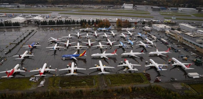 Boeing 737 Max airplanes sit parked at the company's production facility. Credit: AFP Photo