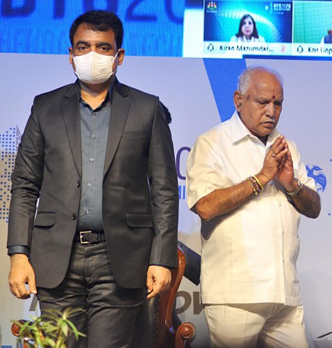 Chief Minister B S Yediyurappa and Deputy Chief Minister C N Ashwath Narayan at the Bengaluru Tech summit 2020 on Thursday. DH Photo/Pushkar V
