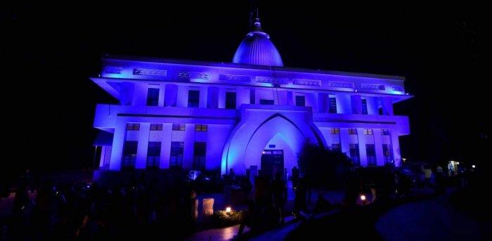 Gandhi Mandap illuminated in blue on World Children's Day, in Guwahati. Credit: PTI.