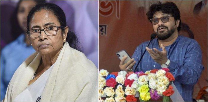 if West Bengal Chief Minister Mamata Banerjee and Union Minister Babul Supriyo. Credit: PTI Photos