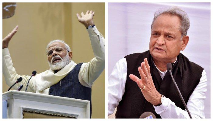 Rajasthan Chief Minister Ashok Gehlot (L) and Prime Minister Narendra Modi (R). Credit: PTI Photos