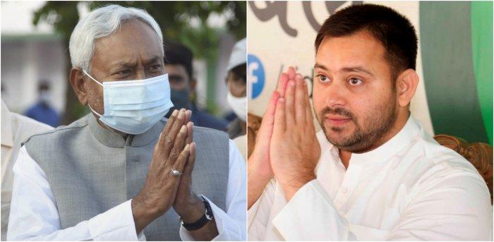 Bihar Chief Minister Nitish Kumar and RJD leader Tejashwi Yadav. Credit: PTI Photos