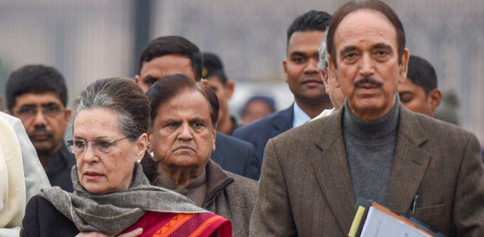 Congress interim president Sonia Gandhi along with party leader Ghulam Nabi Azad. Credit: PTI File Photo
