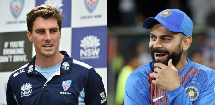 """Australia speedster Pat Cummins expectedly considers Virat Kohli the """"big"""" wicket he would target in the upcoming series against India. Credit: AFP Photos"""
